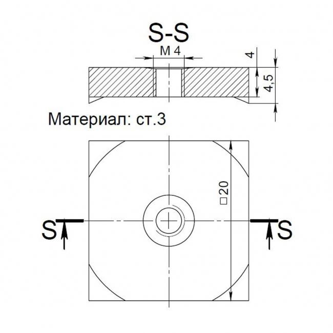 Спец.шайба резьбовая квадратная косая